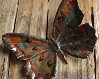 Butterfly - large copper metal insect sculpture - wall hanging - with verdigris blue-green patina - OOAK