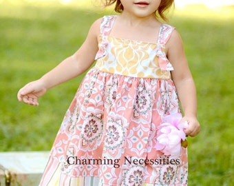 SALE Girls Knot Dress in Fall Festival Dark Coral by Charming Necessities Toddler Girl Back to School Boutique Clothing
