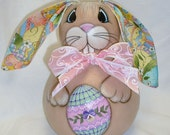 Gourd Easter Bunny with Easter Egg - Hand Painted Rabbit