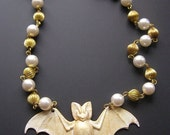 ON SALE Bat Necklace, Gothic Bat Necklace, Pastel Goth Necklace, White Metallic Gold,  Bat Jewelry, Bat Pendant