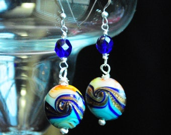 Lamp Work Glass Bead earrings *Mardis Gras* dangle wrapped sterling silver glittery colorful