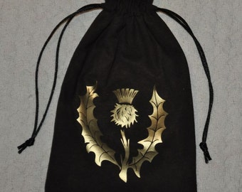 Scottish celtic thistle tarot  dice bag