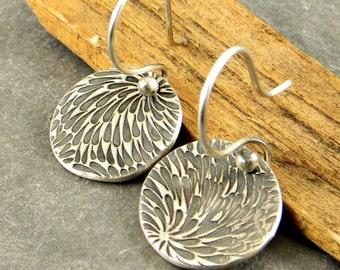 Textured Earrings,Fine Silver Earrings, Disc Earrings, , Petite Earrings, Rustic Jewelry Gifts for Her