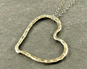 Silver Heart Necklace Fine Silver Valentine's Gift , Eco Friendly Jewelry Gifts for Her Necklace for Her Ready to Ship