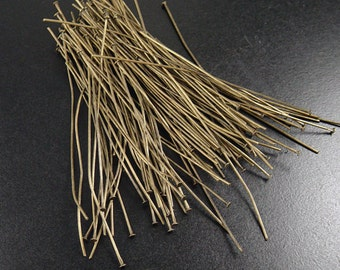 Bronze Head Pins 100 Headpin Antique Bronze 3-3/8 inch (80mm) Severely Discounted BIRD NEST 21 gauge NF (1062pin80z1)