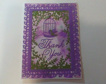 Thank You Card purple and green with birdcage.
