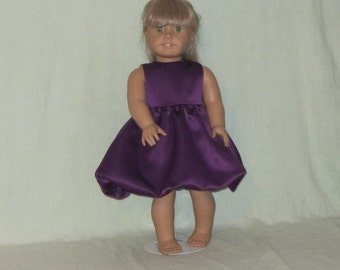 American Girl 18 inch Doll Plum Satin Party Dress