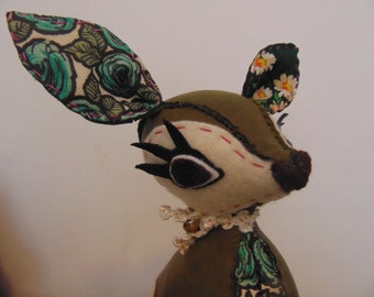 Tiny - Sage Green Fawn - Green Leather & Floral Rayon Hand Stitched Deer - Limited Edition