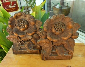 Hibiscus Flower Bookends Wood Composite Carving Sculpture Hawaiian Syroco