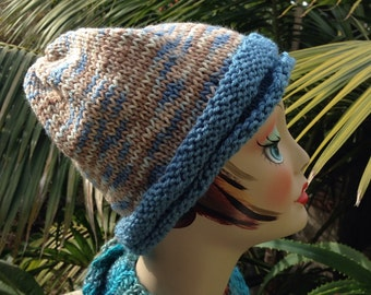 Handmade Knit Blue Tan Ski beanie