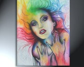 Colorful Rainbow Woman Upper Body Portrait  Huge Original Artwork 30x40 Holding On To My Inner Strength