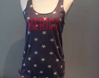 Merica Tank Top //Stars Tank Top // American Flag Clothing Red White and Blue Merica Tank Top Stars and Stripes