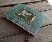 Large Blank Teal Coptic Stitch Couple's Journal With Vintage Valentine Post Card, Romantic Love Journal, Teal Batik Art Journal Sketchbook