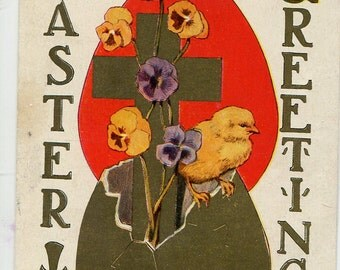 Vintage Easter vintage postcard, Easter Greetings, Easter chick, pansies, gold cross, Easter egg vintage postcard, SharonFosterVintage
