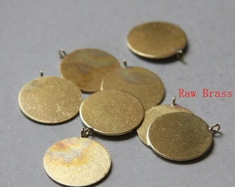 8pcs of  Raw Brass Round Coin - Charm 20mm (3201C-N-304)