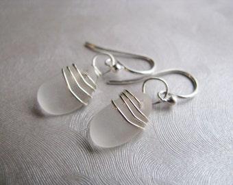 Beach Glass Jewelry - White Sea Glass Earrings - Dangle Earrings
