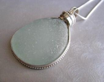 Seafoam Blue Seaglass Necklace - Showstopper Large Bezeled Necklace  - Beach Glass Necklace