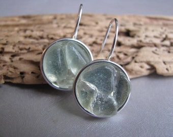 Sea Glass Circles - Sea Glass Earrings - Seafoam Sea Glass - Dangle Earrings - Sea Glass
