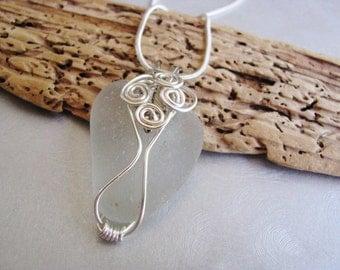 Beach Glass Pendant - Sea Glass - White Sea Glass - Wire Wrapped - Beach Glass Jewelry