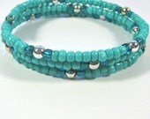 Turquoise and silver beaded triple row wrap bracelet, aqua memory wire bracelet