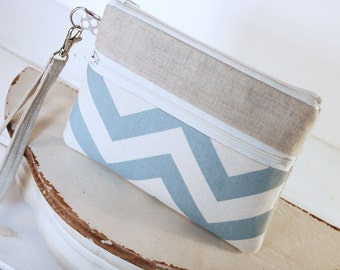 Blue Oceans Chevron and Linen Wristlet Zipper Clutch Purse -Cell Phone Wallet - Wristlet Cell Phone Sleeve for iphones, samsung, blackberry