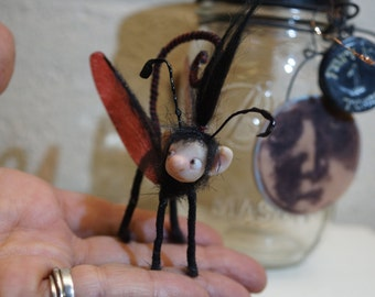 ooak CAPTURED LUNA FAIRY in mason jar ( #3 ) poseable polymer clay art doll by DinkyDarlings elf pixie faery