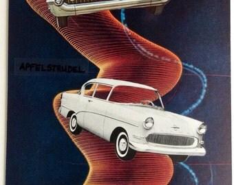 Cars. Art collage. Vintage cars. Vortex. Retro cars. Retro art. Home decor. Gift for him or her. Whimsical art. Fantasy art