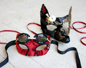 Steampunk Masquerade - Little Red and Her Mechanical Wolf - Pair of Halloween Masks