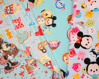Disney licensed  fabric Disney fabric scrap  Minnie Mouse and Tsum tsum   print 25 cm by 25 cm or 9.6 by 9.6 inches each piece (ns04)