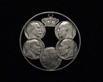 GREECE - cut coin pendant - 1963 - The Five Greek Kings Between 1863-1963 - SILVER