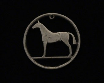 IRELAND - cut coin pendant - Horse - 1939 - SILVER - One year Younger than Tommy Chong!!
