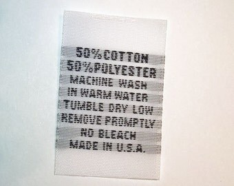 50-50 Polyester Poly Cotton Woven Clothing Care Labels Wash Warm (Qty 100) WCP-Warm