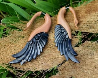 Fake Gauge Earrings - Handmade Black Horn Fancy Spiral Split Expanders tribal fake piercings organic