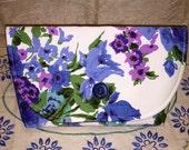 Vintage Purple Blue Floral Fabric Clutch Bag Purse Handbag