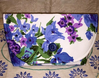 Vintage Purple Blue Floral Fabric Clutch Bag Purse Handbag