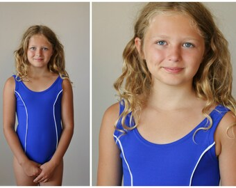 NOS, 1960s Cobalt Nautical Swimsuit >>> Girls Size 8/10 or 12/14