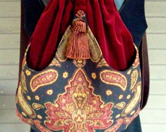Backpack Medallion Tapestry Boho Backpacks tapestry sling bag rust velvet tassel  cinch bag tapestry book bag