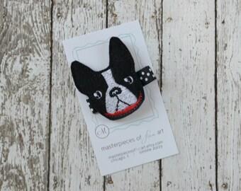 Black Boston Terrier Hair Clip - cute dog felt clippie - everyday felt hair bow - felt hair clips - felt hair accessory -  non slip grip