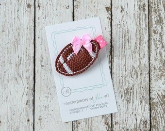Chocolate Brown, White and Pink Football Felt Hair Clip - Sports Felt Hair Bow - Perfect for your football fan - non slip grip clippie