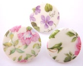 3 x Large China Buttons With Floral Patterns