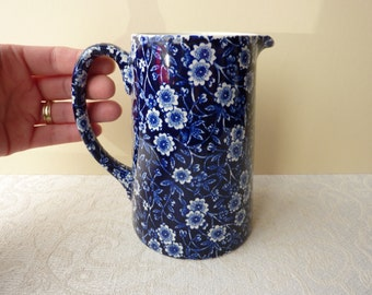 Vintage Burleigh Calico Cobalt Blue and White Tankard Jug - 1 Pint Capacity