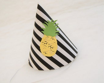 NEW Black & White Stripe and Pineapple Party Hat - pineapple birthday party, pool party, tropical party