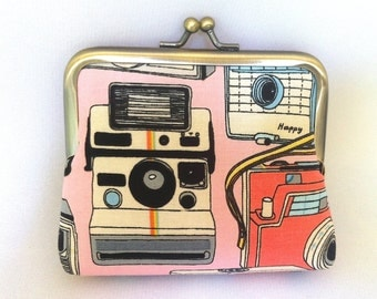 Retro Cameras Coin Purse in Pink