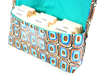 Coupon Organizer Rectangles in Blue and Brown Heavy Duty Fabric