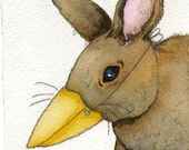 Original Rabbit Miniature Watercolor Painting Unique Original Watercolor Bunny in Bird Mask Gift Unique Bunny Art Rustic Woodland Art Gift