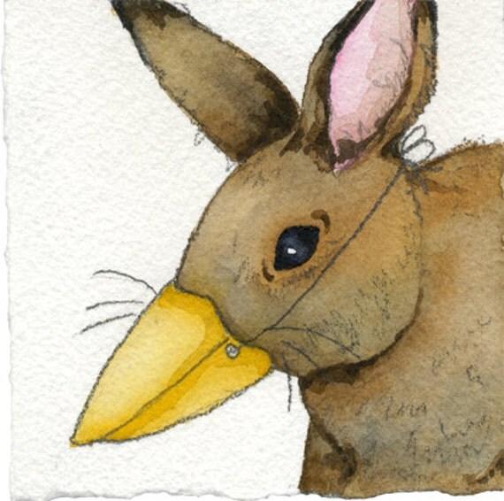 Original Rabbit Miniature Watercolor Painting Unique Original Watercolor Bunny in Bird Mask Gift Unique Bunny Art Rustic Woodland Art Gift