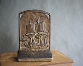 Vintage Ship Bookend Clipper Sailing Vessel Antique 1920's Library Decor Arts & Crafts Period Bronze or Brass Finish