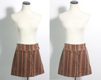 VTG 90's Earth Tones Striped Corduroy Mini Skirt (Medium) Brown Orange Black Stripes Retro A Line Short 70s Style Skirt