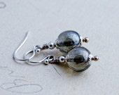 Glass Earrings, Drop Earrings, Sage Green, Czech Glass, Dangle Earrings, Sterling Silver, Antiqued, Woodland, Forest, Sterling Silver