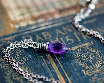 Amethyst Necklace, Amethyst Jewelry, February Birthstone, Gemstone Pendant, Gemstone Necklace, Sterling Silver, Purple Necklace, PoleStar